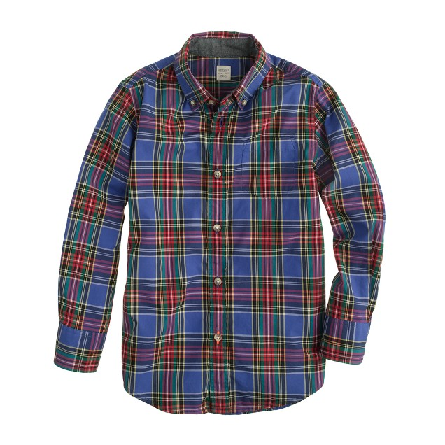 Boys' tartan shirt in atlantic