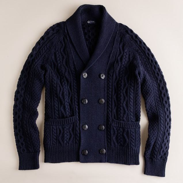 Cotton cable harpoon sweater-jacket