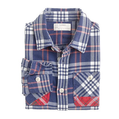 Boys' midweight patched flannel shirt in blue plaid