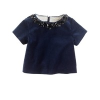 Girls' jeweled velvet top