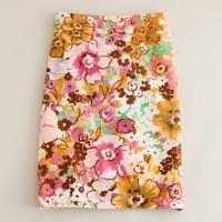 Watercolor floral pastiche pencil skirt