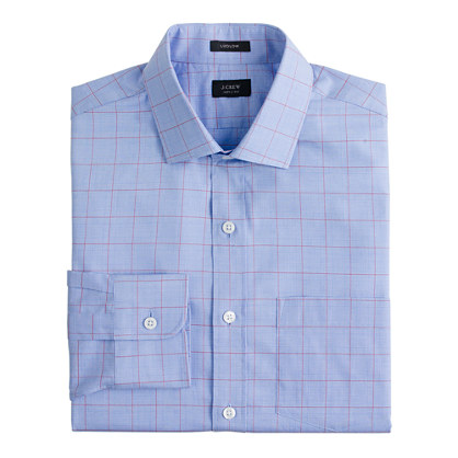 Ludlow spread-collar shirt in beacon red overcheck