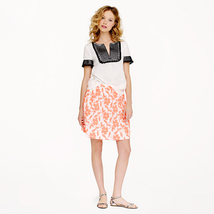 Collection embroidered neon floral skirt