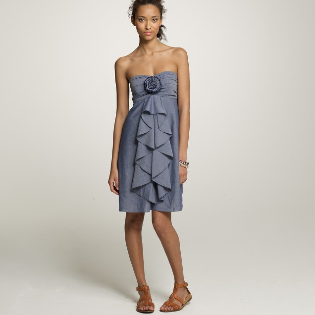 Strapless chambray wild rose dress