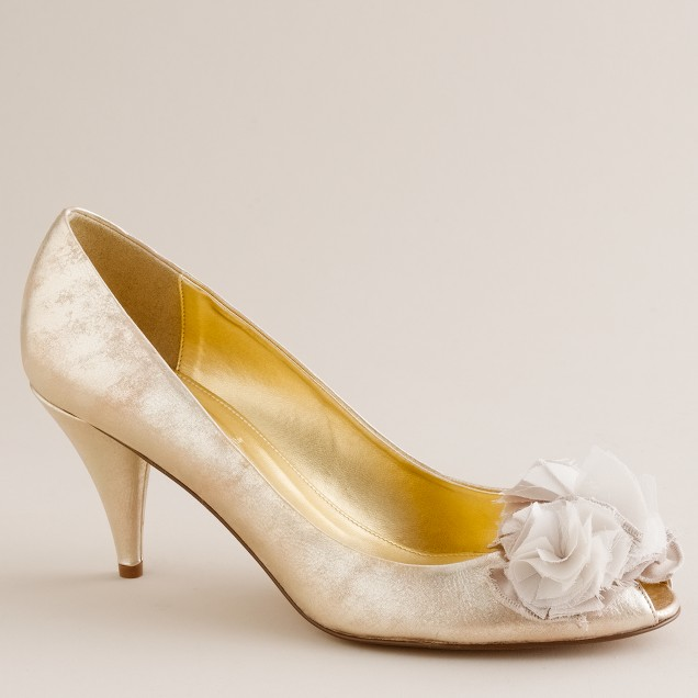 Blume metallic leather peep toes