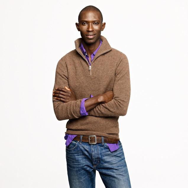 Lambswool half-zip bib sweater