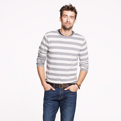 Cotton-cashmere crewneck sweater in heather grey stripe