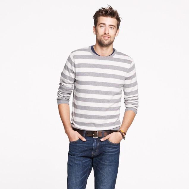 Cotton-cashmere crewneck sweater in heather grey stripe