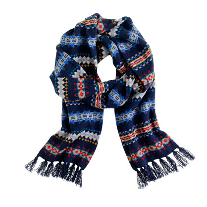 Lambswool Fair Isle stripe scarf