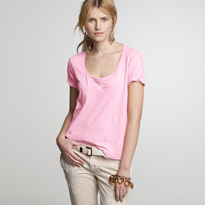 Linen-cotton boxy coverstitch tee