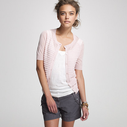 Cotton-gauze pleated short-sleeve cardigan