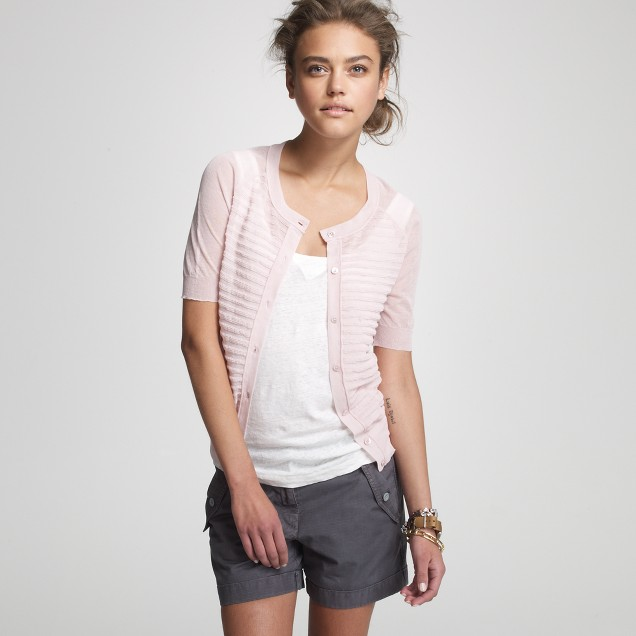 Cotton-gauze pleated short-sleeve cardigan