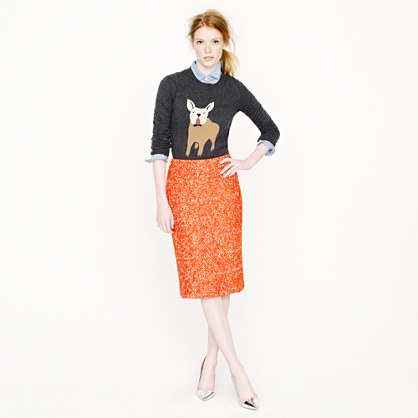 Petite No. 2 pencil skirt in corkscrew tweed