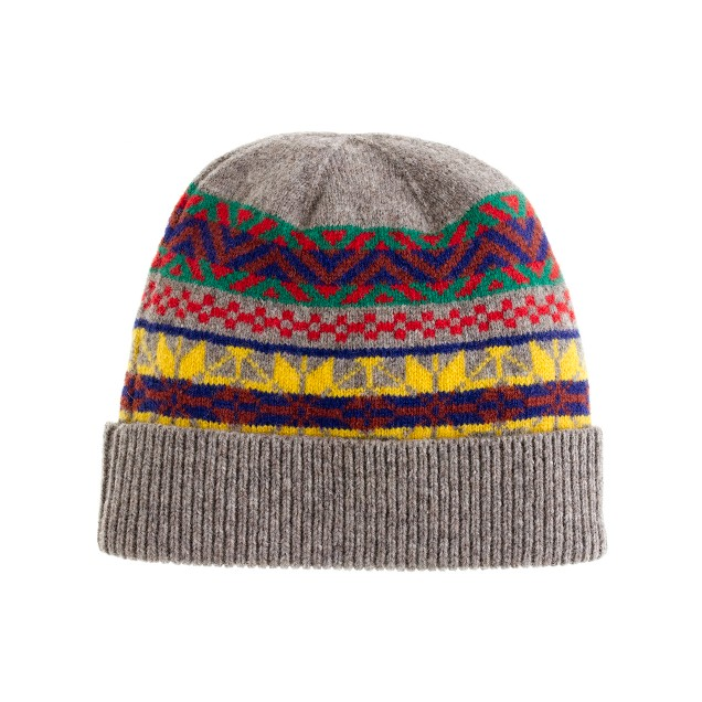 Lambswool bright Fair Isle hat