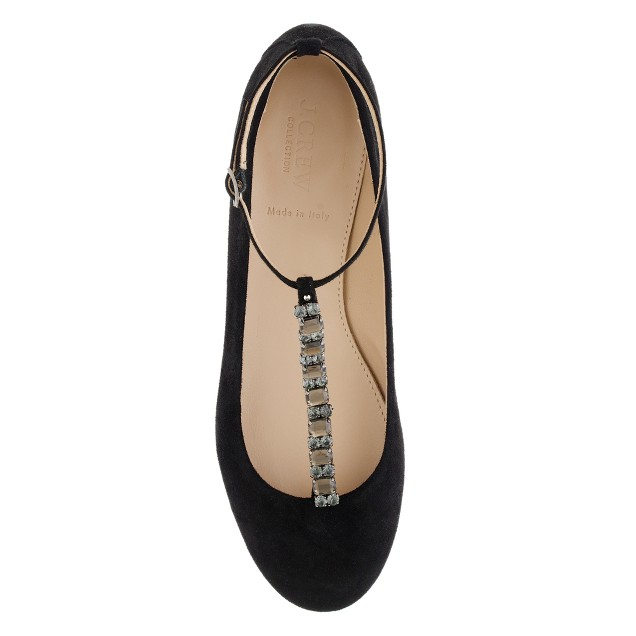 Collection jeweled T-strap ballet flats