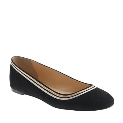Metallic trim ballet flats