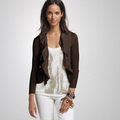 Cotton cascade ruffle cardigan