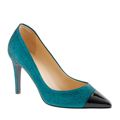 Everly cap toe glitter pumps