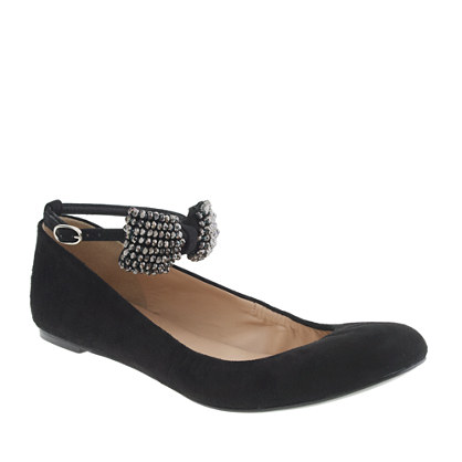 Collection crystal bow-tie ballet flats