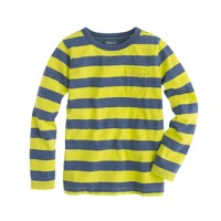 Boys' long-sleeve pocket tee in kiwi stripe
