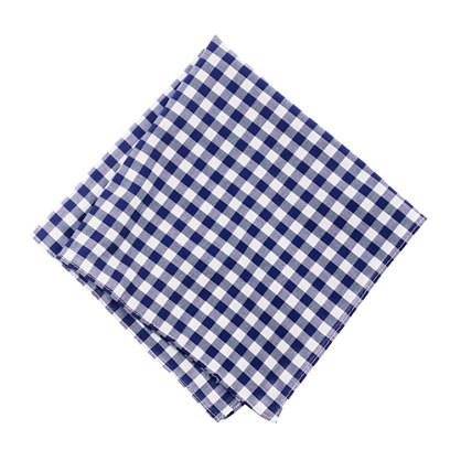 Cotton pocket square in navy gingham