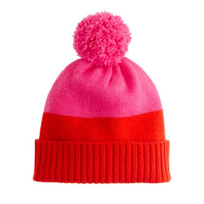Girls' cashmere colorblock hat