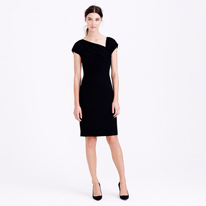 Petite origami dress in wool crepe