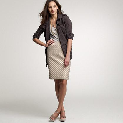 Dotted jacquard pencil skirt