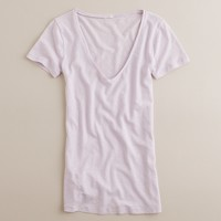 Linen-cotton soft V-neck tee