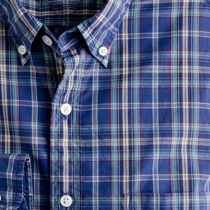 Secret Wash lightweight button-down shirt in watchtower plaid
