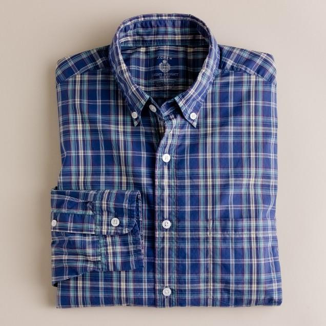 Secret Wash lightweight button-down shirt in watchtower plaid