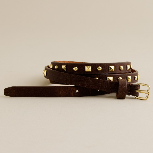 Skinny pyramid-studded belt