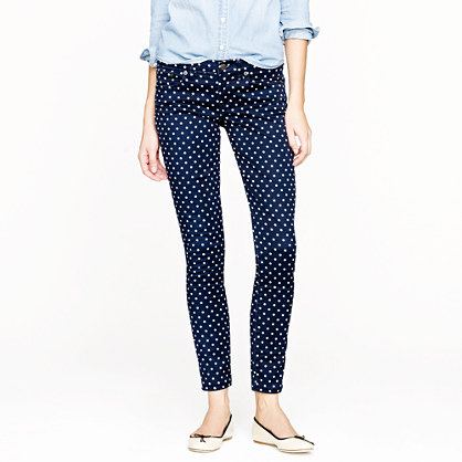 Tall toothpick jean in polka dot