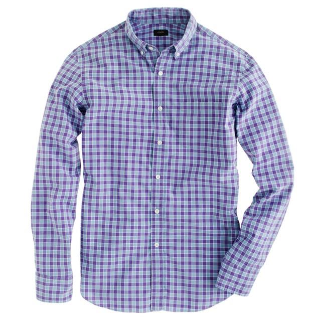 Secret Wash shirt in aubergine check