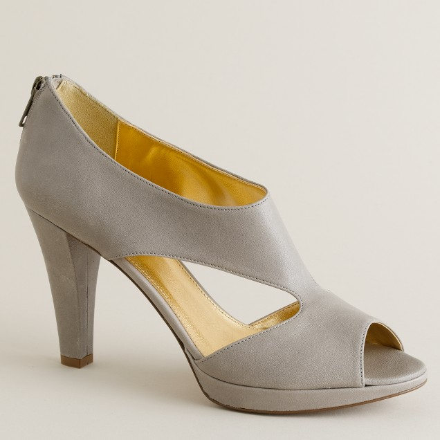 Alecia leather platform peep toes