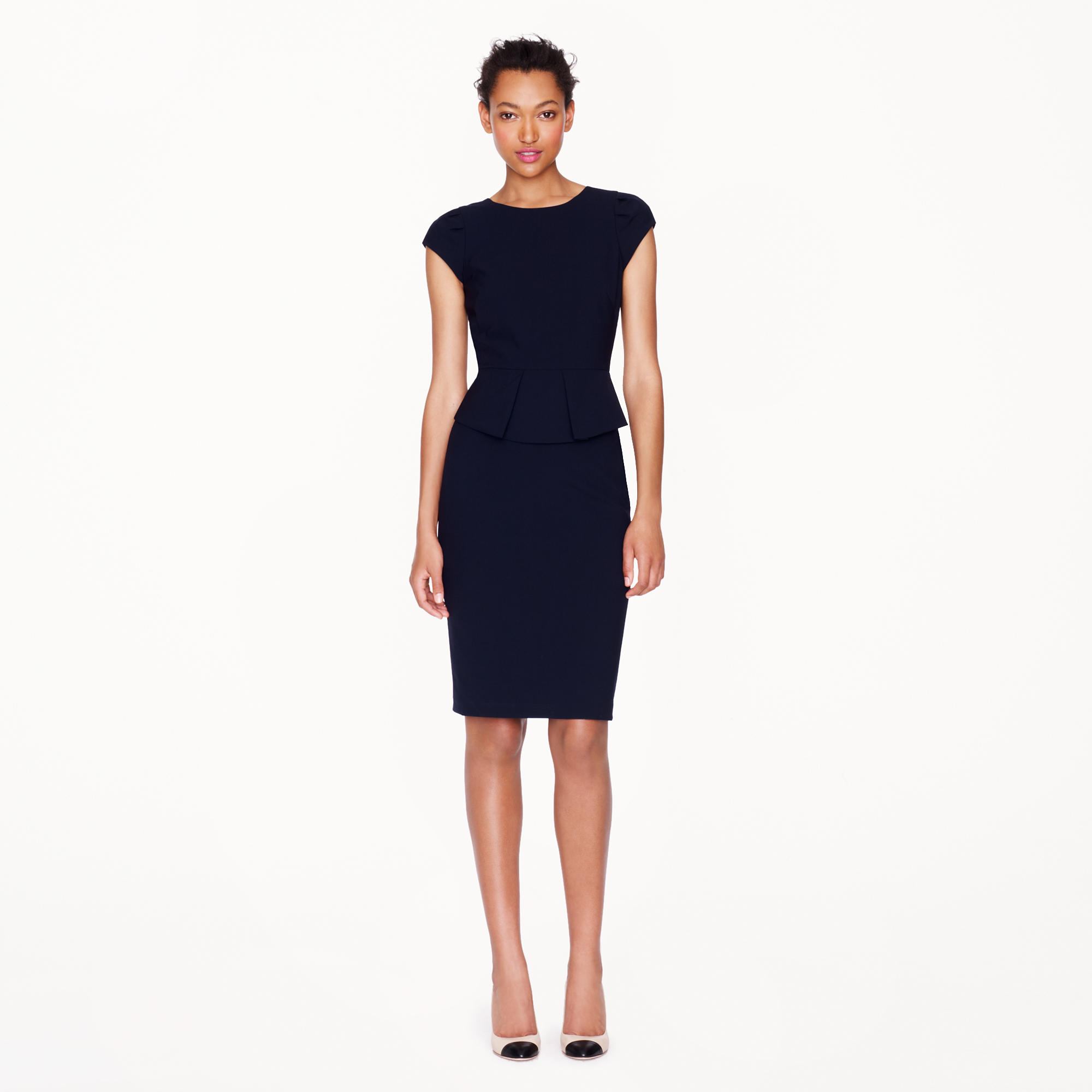 Black dress j crew - Peplum Dress In Stretch Wool
