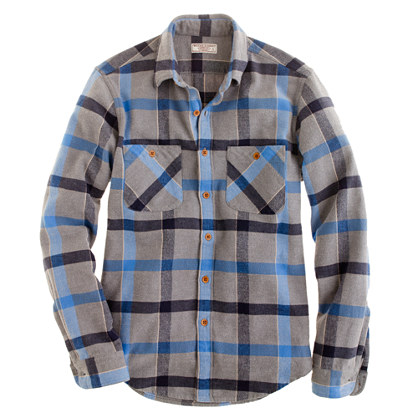Wallace & Barnes broken twill shirt in blue plaid
