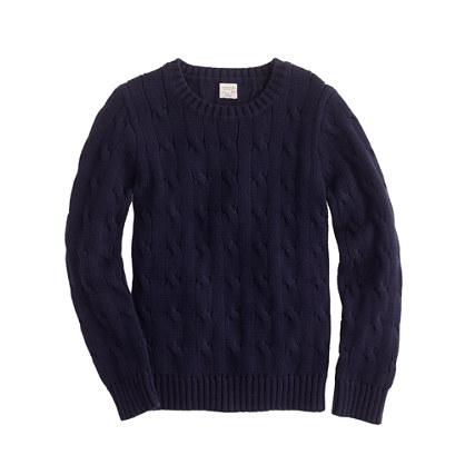 Boys' cable crewneck sweater