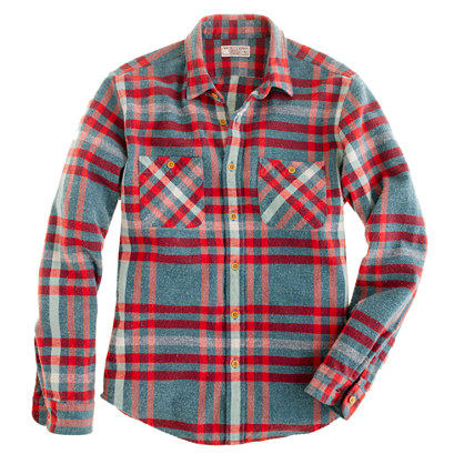 Wallace & Barnes broken twill shirt in glacier plaid