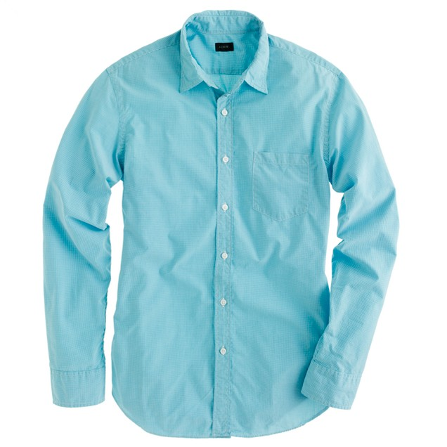 Secret Wash shirt in pagoda blue gingham