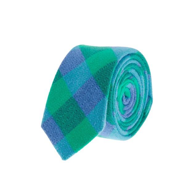Boys' green buffalo check tie
