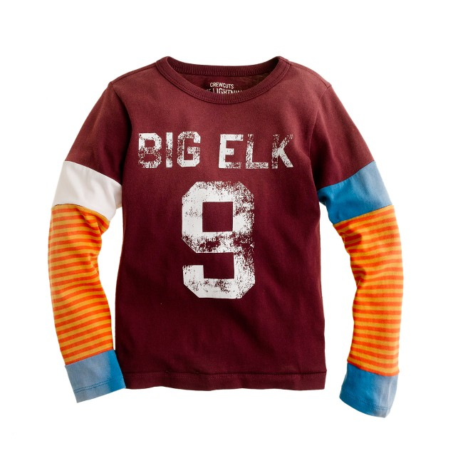 Boys' long-sleeve tee in elk stripe