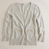 Cashmere zip pocket cardigan