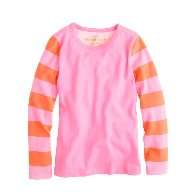 Girls' long-sleeve stripe neon tee