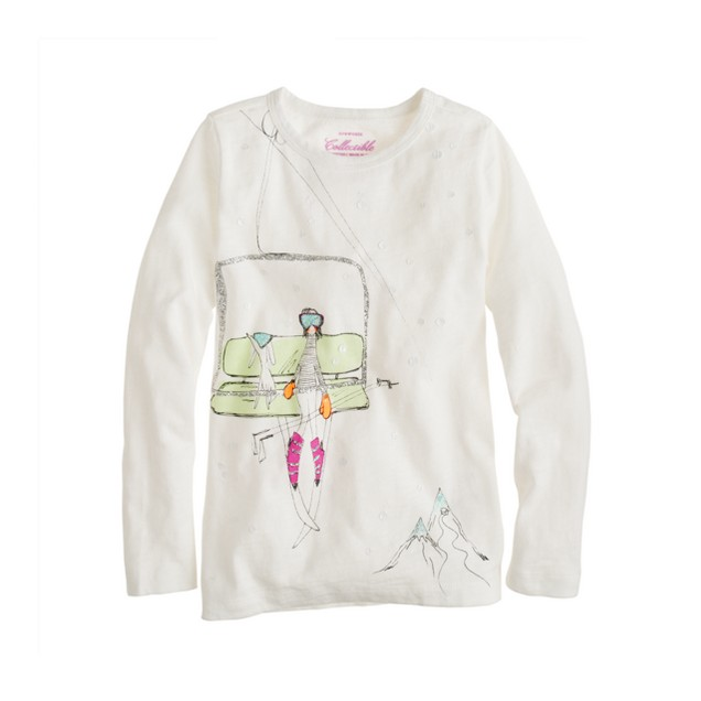 Girls' long-sleeve ski lift tee