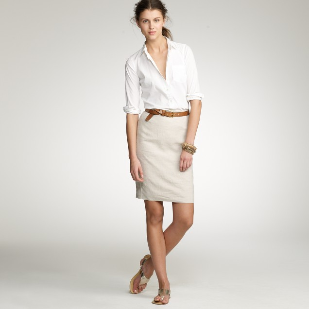 Tailored linen pencil skirt