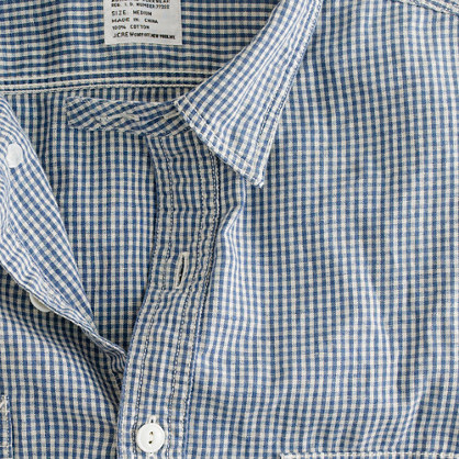 Linen gingham utility shirt