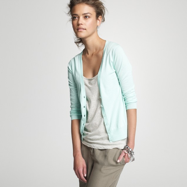 Featherweight cotton bling-button cardigan