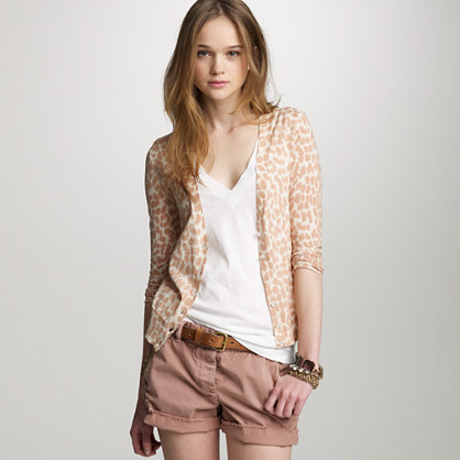 Featherweight cotton lynx bling-button cardigan