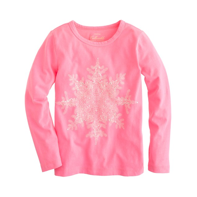 Girls' long-sleeve sequin snowflake tee